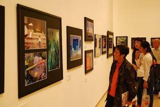 第43回県芸術文化祭の展示作品に見入る来場者=22日、県立博物館・美術館