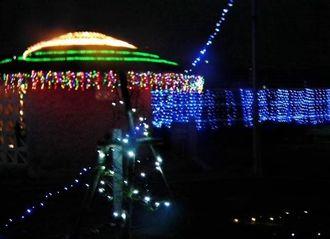 約1万9千個の電飾が輝いた中城村商工会のイルミネーション=同村・花と緑のふれあい広場