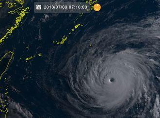 9日午前7時10分現在の台風8号(NICTひまわり8