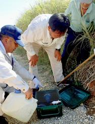 ハブの生息調査のため、県衛生環境研究所や粟国村の職員が置いた捕獲わな=7日、粟国島(伊良皆光代通信員撮影)
