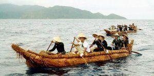 与那国島を出航し、目的地の西表島に到着した草舟=18日午前(3万年前の航海徹底再現プロジェクト提供)