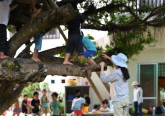 保育園の園庭で遊ぶ子どもたち(資料写真)