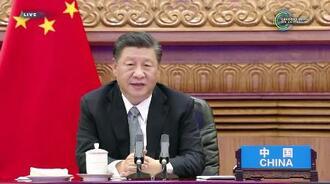 気候変動に関するオンライン首脳会合で発言する中国の習近平国家主席=22日