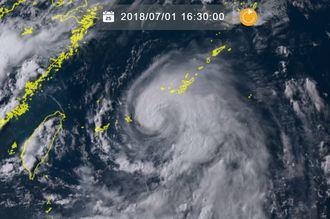 ひまわり8号リアルタイムwebがとらえた台風7号(1日午後4時半、NICTのHPから)
