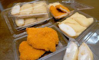 鶏胸肉のガーリックチキンと沖縄風いなりずしはどちらも、さっぱりした味わい