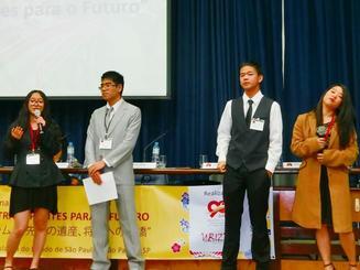 伝統継承を誓ったコレジオ・ブラジリアの学生=サンパウロ