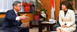 島尻沖縄担当相(右)と会談する翁長雄志知事=28日午後、内閣府(代表撮影)