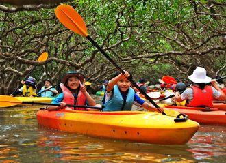 マングローブ原生林をカヌーに乗り観察する隊員=26日、鹿児島県奄美市住用町