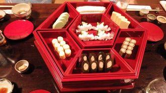 老舗琉球料理店「美榮」で提供されている東道盆(沖縄美ら島財団提供)