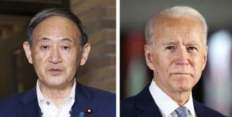 菅義偉首相、バイデン米大統領(AP=共同)