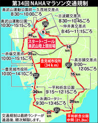 NAHAマラソン:交通規制情報 那覇・南部で午前8時半~午後3時すぎまで