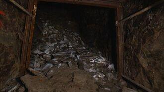 第32軍司令部壕の第5坑道最深部。旧日本軍の南部撤退時の爆破で崩落し、これ以上先には進めない=6月30日(代表撮影)