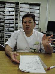 「早期発見が完治につながる」と話す真栄田裕行医師=西原町の琉球大医学部