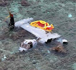 昨年12月に名護市安部の海岸に墜落し大破したオスプレイ