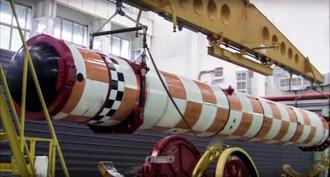 ロシア国内で行われた原子力魚雷「ポセイドン」の発射実験の様子=撮影日不明(ロシア国防省提供、AP=共同)