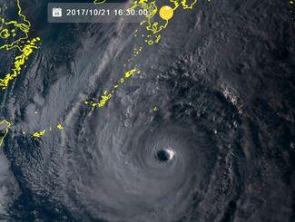 台風21号の画像(気象衛星ひまわり8号リアルタイムwebから)
