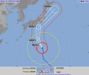 台風19号の針路予想図(気象庁HPより)