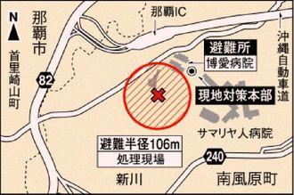 不発弾処理現場と避難所・現地対策本部