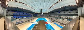 東京五輪・パラリンピックの水泳会場として東京都が新設した東京アクアティクスセンター=24日午前、東京都江東区