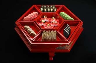 琉球王朝時代に使われた東道盆。琉球料理が日本遺産に認定された(文化庁提供)