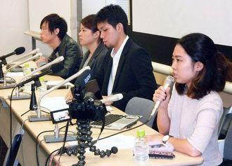 国会内で記者会見する「SEALDs」のメンバーら=6日
