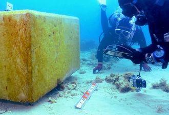 海底でコンクリートブロックの下敷きになり、損傷したサンゴを調べるダイバー=26日午後1時45分、名護市の大浦湾(伊藤桃子撮影)
