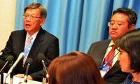 翁長知事、思い凝縮の2分間 国連スピーチ「大きな力に」