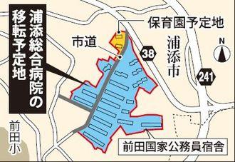 前田国家公務員宿舎と浦添総合病院の移転予定地