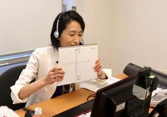 オンラインで授業を行う日本女子大の「リカレント教育課程」の講師=2020年6月(同大学提供)