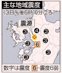 熊本で震度6弱/和水町 M5.1 80代女性転倒