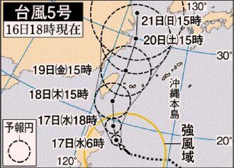 台風5号進路図