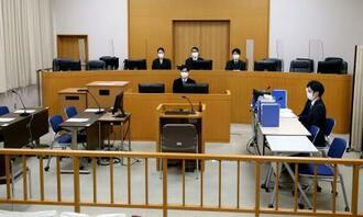 富山交番襲撃事件の初公判が開かれた富山地裁の法廷=14日午前(代表撮影)
