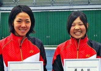 アジア選手権日本代表予選会を制したヨネックスの神谷絵梨奈(左)と森田奈緒組(ヨネックス提供)