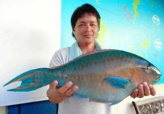 東磯で61センチ、3.92キロのアーガイを釣った外間修さん=6月17日