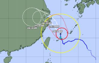台風6号の位置=24日午前6時現在(気象庁のHPから引用)