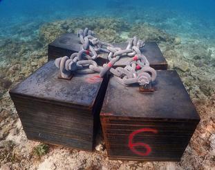 汚濁防止膜設置に使用するとみられる鉄板アンカー=27日、名護市辺野古沖(ダイビングチーム・レインボー提供)