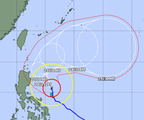 台風2号の経路図 20日12時現在(気象庁HPより)
