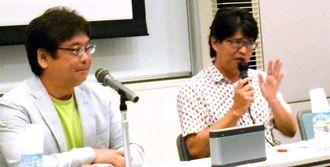 1990年代以降の沖縄ポップを語るボーダーインクの新城和博さん(右)とFM沖縄の東風平朝成さん=29日、那覇市・県立博物館・美術館