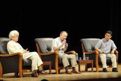 トークセッションで八重山の魅力を語った(左から)養老孟司さん、池田清彦さん、山田吉彦さん=石垣市民会館
