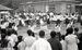 聖火を歓迎し踊る人々=1964年9月8日、久志村(現・名護市)嘉陽