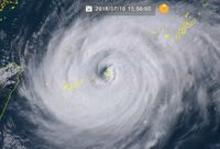 台風8号:与那国島地方が早ければ午後6時にも暴風域に