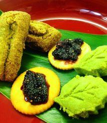 生徒が完成させた(右から)桑の葉入りちんすこう、桑の実ジャム、桑の葉入り三月菓子