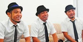 ニューシングルをPRするきいやま商店=15日、那覇市・沖縄タイムス社