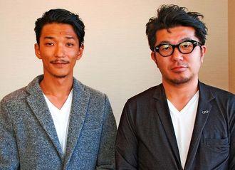 肉寿司を開店したスパイスワークスの下遠野社長(右)とスパイスワークス沖縄の豊里大輔事業部長=11日、沖縄タイムス社