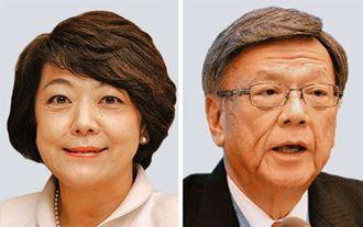 (左から)島尻安伊子沖縄担当相、翁長雄志知事