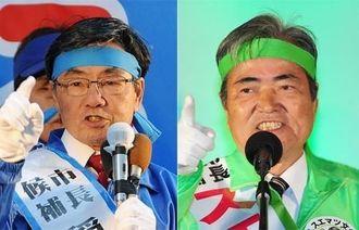 (右)市政を変えようと訴える末松文信氏=18日、名護市城 (左)打ち上げ式で支持を訴える稲嶺進氏=18日、名護市宮里