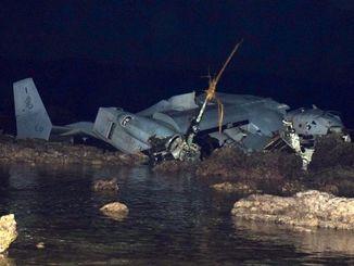 伊集記者が撮影した、大破したオスプレイの機体