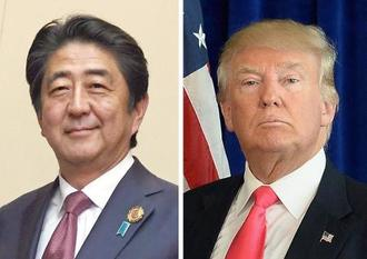 安倍晋三首相(左)、トランプ次期米大統領(ゲッティ=共同)