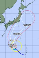 台風16号=27日午前6時45分現在(気象庁HPから引用)