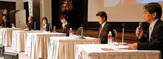 シンポでは、沖縄のアジア展開の可能性について議論した=29日、那覇市・ANAクラウンプラザホテル沖縄ハーバービュー